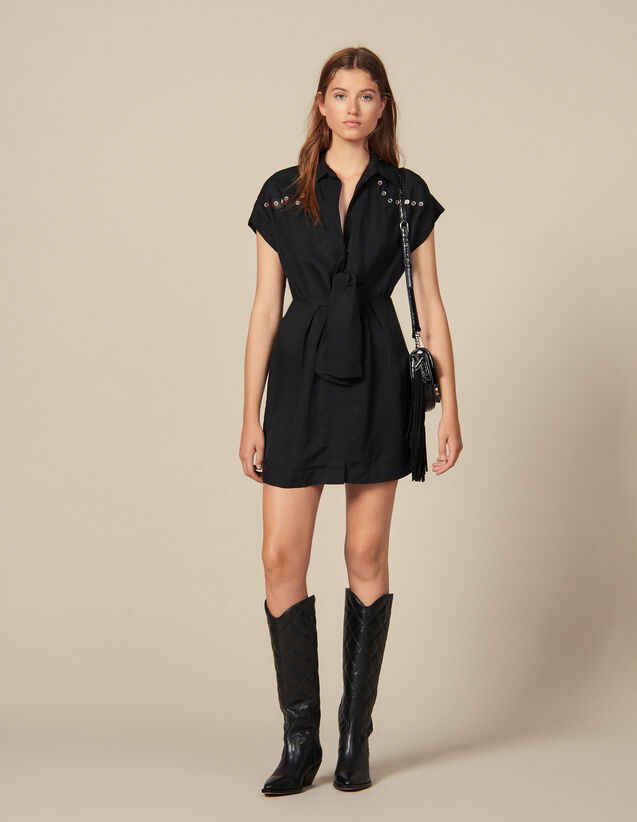 Shirt dress trimmed with coloured studs : Dresses color Black