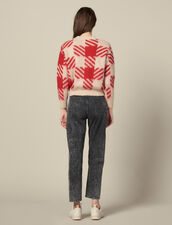 Hairy Checked Jacquard Sweater : Sweaters & Cardigans color Red