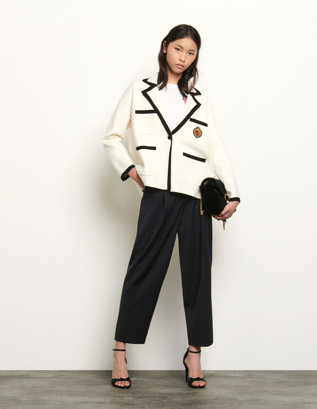 Tailored jacket style cardigan : Spring Pre-Collection color Ecru