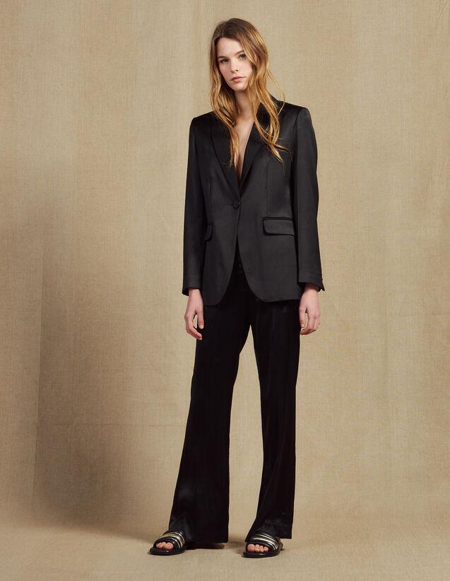 Pants In Satin Fabric : Pants & Shorts color Black