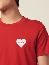 Cotton T-Shirt With Flocked Heart : T-shirts & Polos color Red