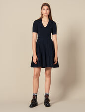 Knit Dress With Shirt Collar : Dresses color Navy Blue