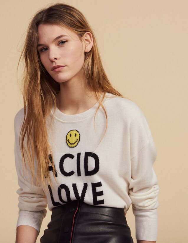 Sweater With Contrasting Lettering : Sweaters color Ecru