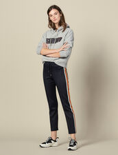 Jersey Jogging Bottoms With Stripes : Pants & Shorts color Navy Blue
