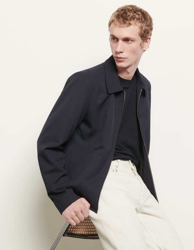 Wool jacket with shirt collar : Spring Pre-Collection color Navy Blue