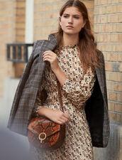 Printed Lurex Silk Midi Dress : Dresses color Beige