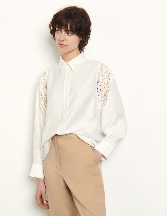 Shirt with guipure inserts : Tops & Shirts color white