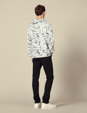 Newspaper Print Hoodie : Sweatshirts color White And Black