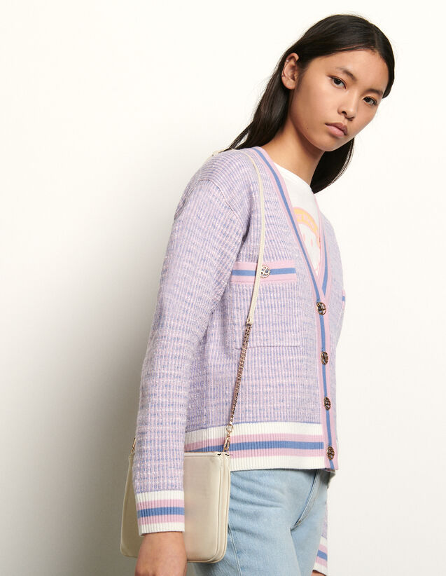 Cropped tweed effect cardigan : Spring Pre-Collection color Blue/pink