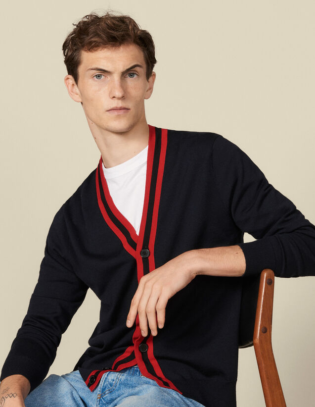 Buttoned Cardigan With Striped Trim : Sweaters color Navy Blue