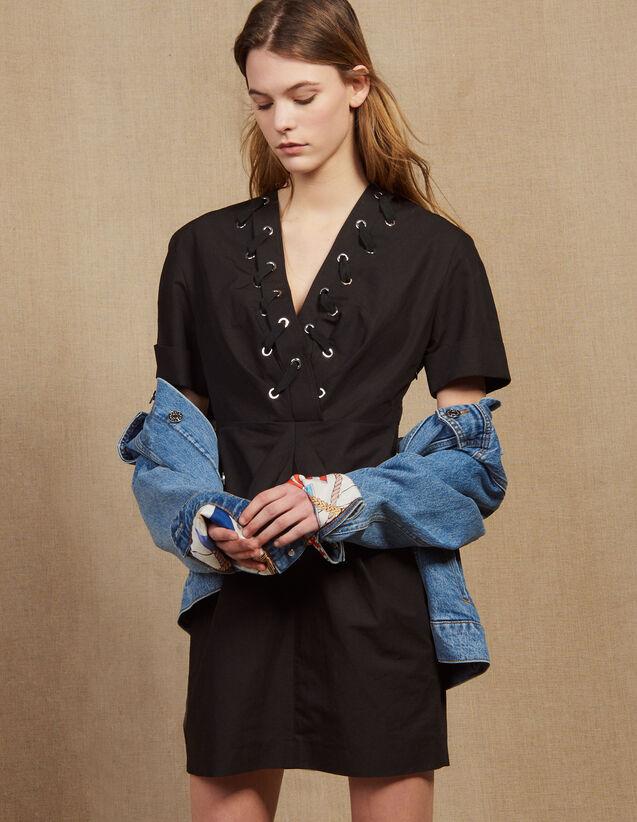 Short Dress With Interwoven Eyelets : Dresses color Black