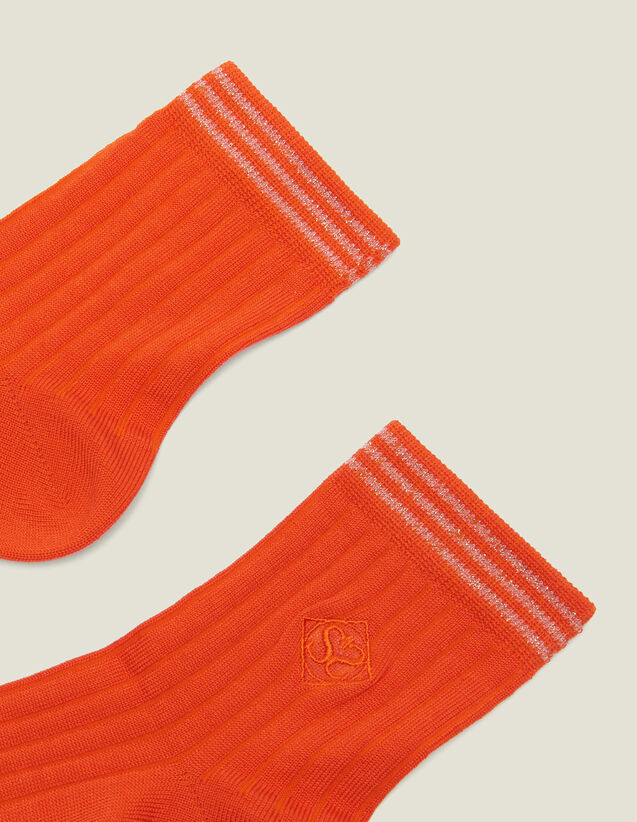 Embroidered Cotton Socks : Other Accessories color Orange