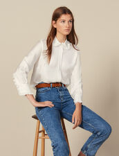 Silk shirt with pleated trim : Tops & Shirts color Ecru