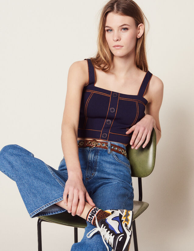 Knit Top With Large Straps : Sweaters color Navy Blue