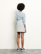 Short houndstooth tweed skirt : Spring Pre-Collection color Blue sky