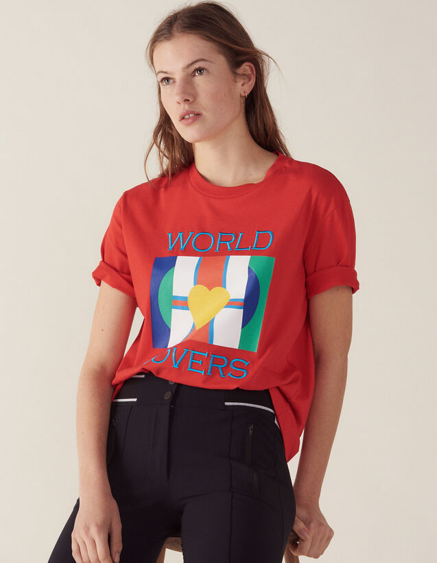 T-Shirt With Flags Logo And Embroidery : Tops & Shirts color Red