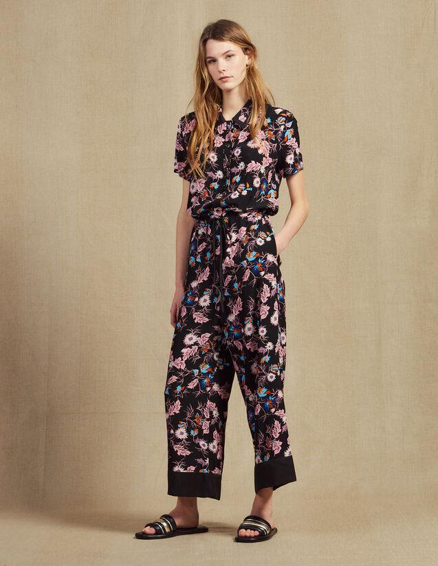 Floral Print Jumpsuit : Pants & Shorts color Black