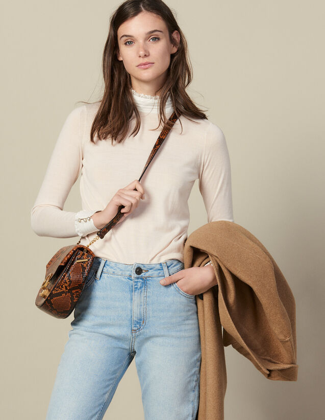 High-Neck Sweater With Pleated Silk : Sweaters & Cardigans color Nude