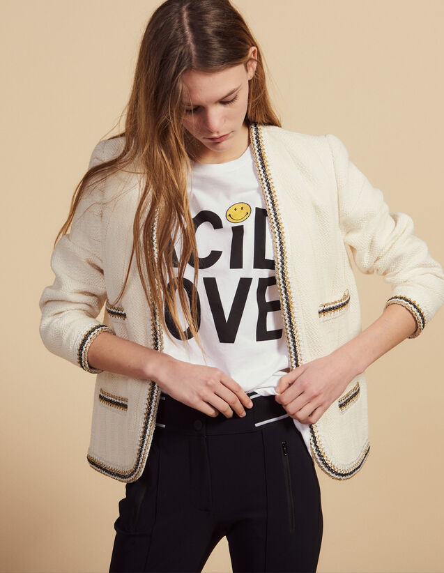 Tweed Jacket Finished With Braid Trim : Coats & Jackets color Ecru