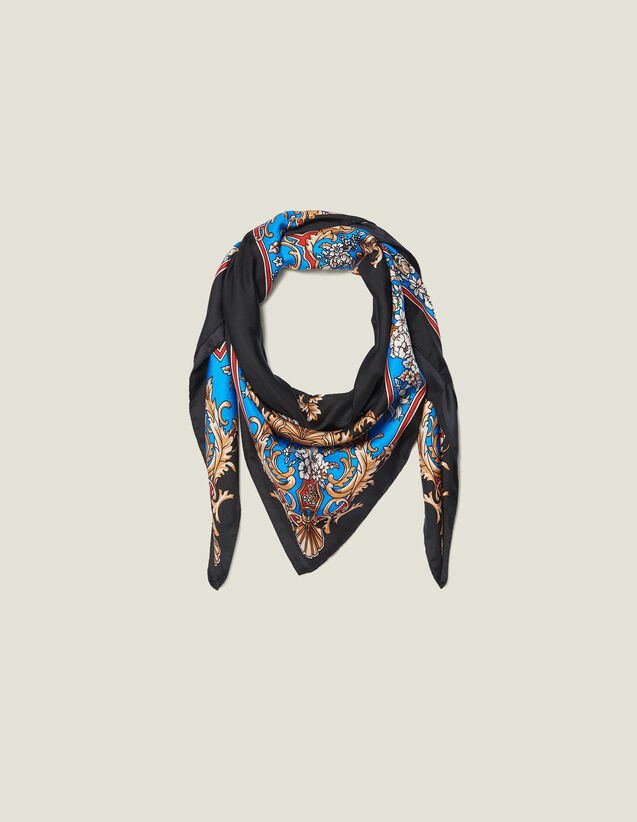 Silk baroque print scarf : Scarves color Black