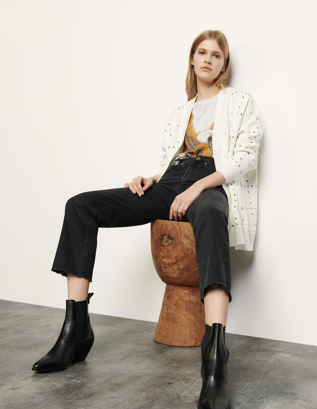 Oversized cardigan with jewelled rivets : Spring Pre-Collection color Ecru