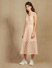 English Guipure Lace Midi Dress : Dresses color Pink