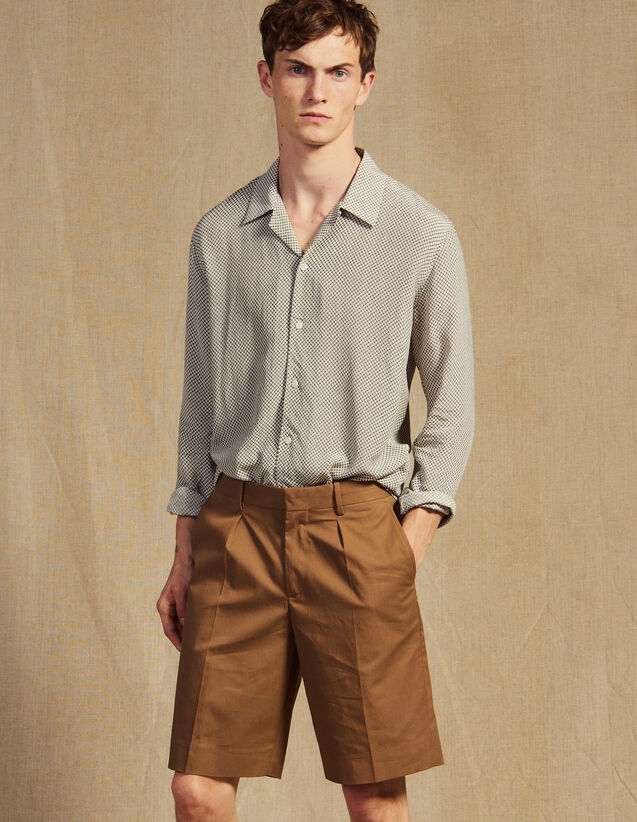 Bermuda Shorts With Pleats : Pants & Jeans color Taupe