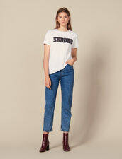 Cotton t-shirt with tweed lettering : Tops & Shirts color white