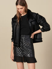 Short Quilted Leather Skirt : Skirts color Black