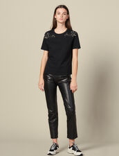T-Shirt With Embroidery On The Shoulders : Tops & Shirts color Black