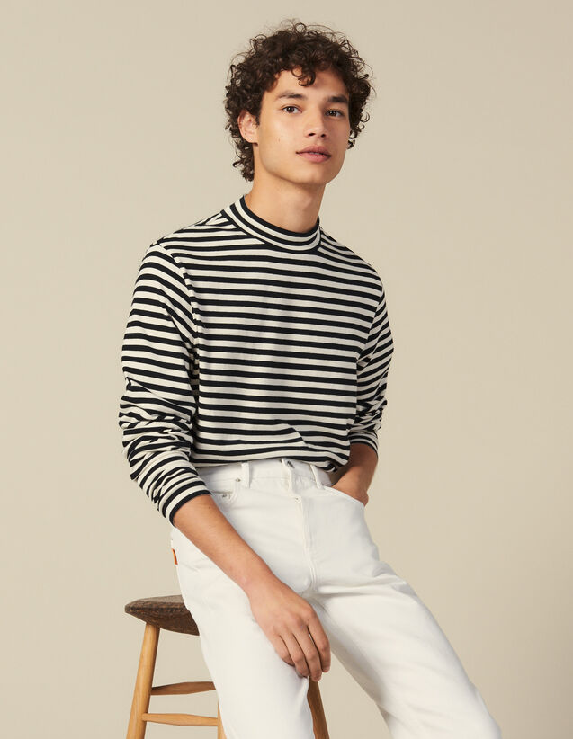 Striped Funnel Neck T Shirt : T-shirts & Polos color Black/Ecru