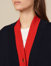 Two-tone cardigan with layered effect : Sweaters & Cardigans color Navy Blue