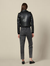 Quilted Leather Jacket : Jackets color Black