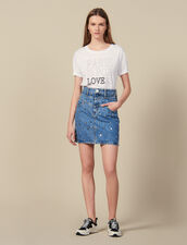 Short Denim Skirt Trimmed With Studs : Skirts color Blue Jean