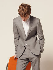 Piqué Wool Suit Jacket : Suits & Blazers color Light Grey