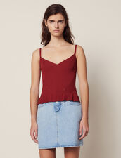Knit Top With Narrow Straps : Sweaters color Terracotta
