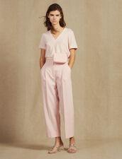 Short-Sleeved Linen T-Shirt : Tops & Shirts color Light pink