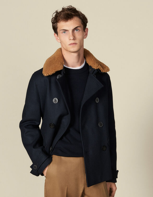 Pea Coat With Sheepskin Collar : Coats color Navy Blue