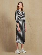Midi Dress With Contrasting Stripes : Dresses color Black