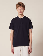 Polo shirt with contrasting collar : T-shirts & Polos color Navy Blue