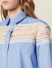 Striped Shirt With Lace Inset : Tops & Shirts color Blue