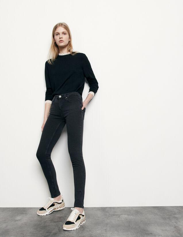 Medium-rise slim jeans : Jeans color Black