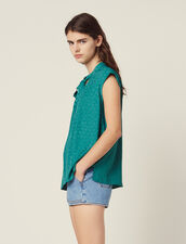Sleeveless Top With Tie Neckline : Tops & Shirts color Green