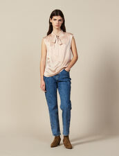 Silk satin top with bow collar : Tops & Shirts color Nude