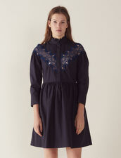 Short Dress With Lace Insert : Dresses color Navy Blue