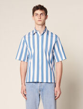 Casual Striped Short-Sleeved Shirt : Shirts color Blue