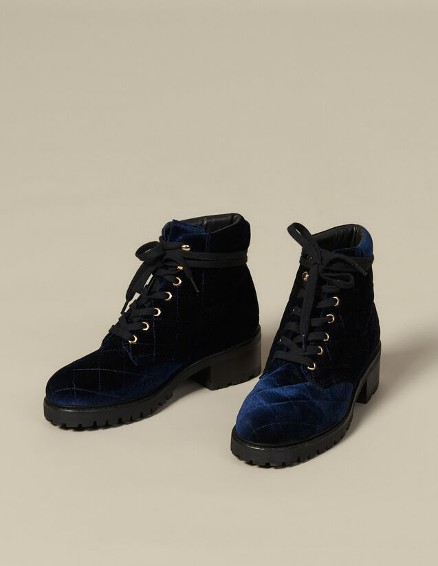 Quilted Velvet Combat Boots : Shoes color Navy Blue