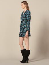 Tulle dress embroidered with sequins : Dresses color Black/turquoise