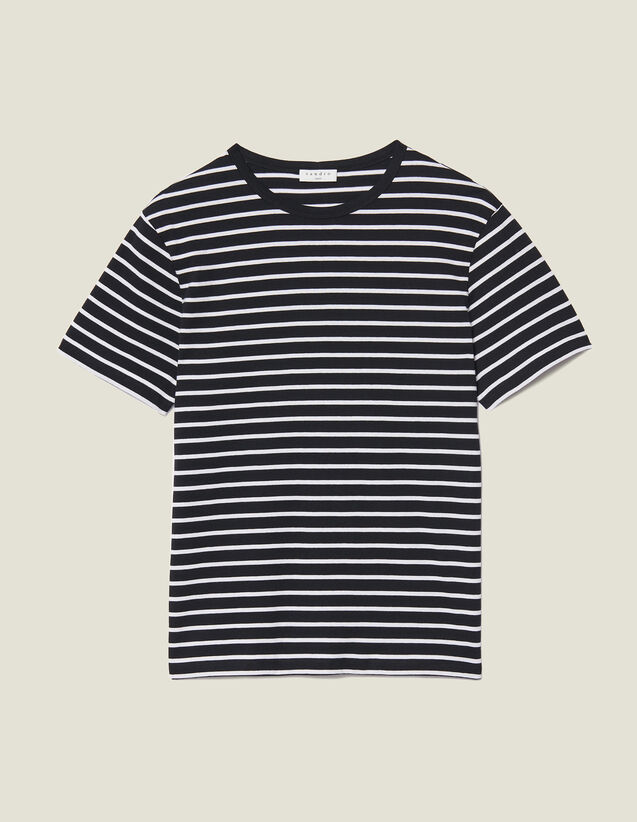 Breton T-shirt : T-shirts & Polos color Black/Ecru