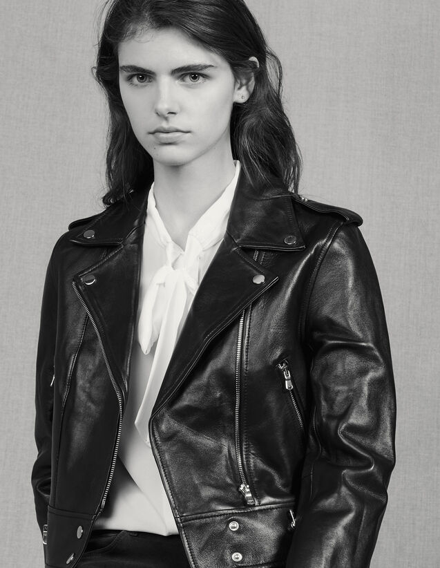 Short leather jacket : Spring Pre-Collection color Black